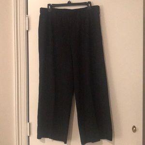 J.Jill Ponte Pleated  Full Cropped Black Pants L
